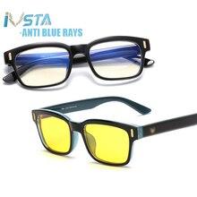 IVSTA, синий светильник, очки, компьютерная игровая оправа, для мужчин, анти-Синие лучи, блокировка, по рецепту, близорукость, поляризованные солнцезащитные очки, ночной ботаник