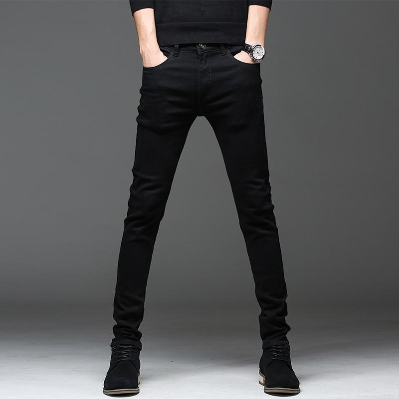 Новинка 2020, высококачественные джинсы, повседневные облегающие черные джинсы, мужские прямые брюки-карандаш, модные мужские уличные обтяги...