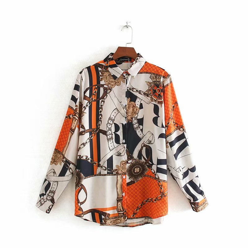 Women Vintage Color Matching Chain Pattern Print Shirt Office Lady Long Sleeve Business Blouses Chic Autumn Retro Tops LS4311