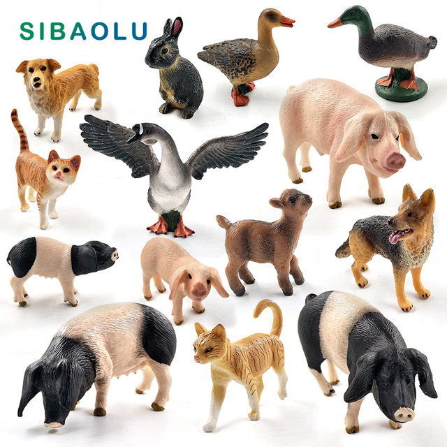 Small Pig Cat Dog Rabbit Goat Sheep Duck animal model figurines Bonsai home decor miniature fairy garden decoration accessories 1