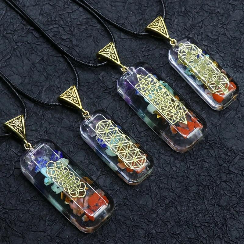 7 Chakra Crystal Necklace Pendant Natural Chakra Orgone Energy Pendant Necklace Pendulum Amulet Amethyst Crystal Necklace