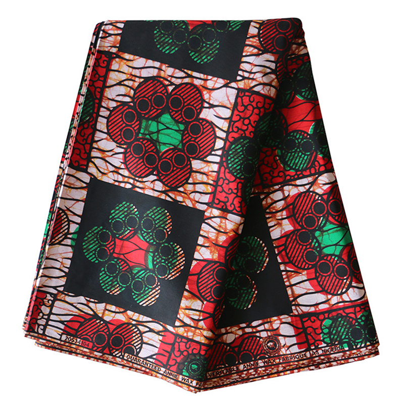 2019 Latest Arrivals Guarantee 100% Cotton African Nigeria Veritable Ankara Real Dutch Wax Green And Red Print Fabric 6Yards\lot