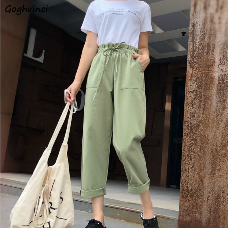 Pants Women Drawstring Solid Loose Casual Korean Style Simple All-match Trendy Trousers Womens Comfortable Bf Ankle-length Daily
