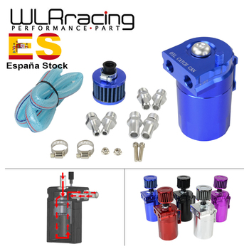 WLR - Baffled Aluminum Oil Catch Can Reservoir Tank / Oil Tank With Filter Universal 9mm / 13mm / 15mm fittings WLR-TK64 chrome aluminum double hole 19mm oil catch tank racing oil can catch tank can oil catch tank oil catch can