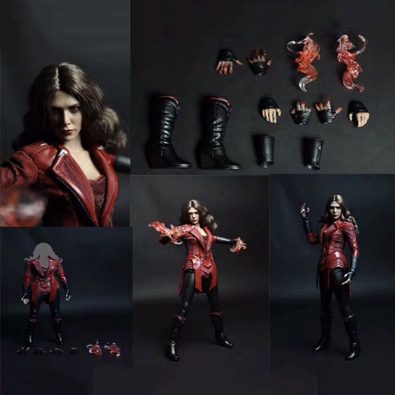 In Stock 1/6 Scale Female Figure Clothes Set Elizabeth Olsen Scarlet Witch Red/Normal Eyes Type For 12 Inches Action Figure Body