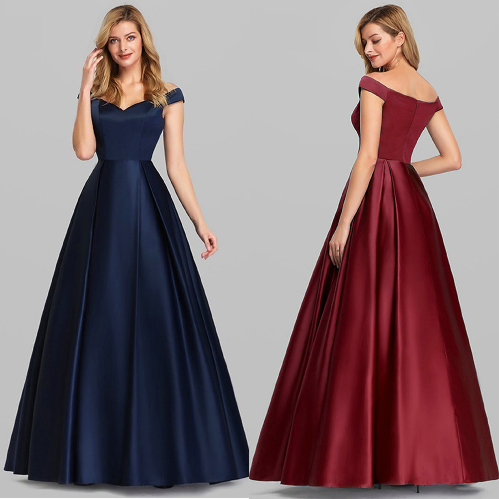 Simple Navy Blue Prom Dresses 2020 Satin Dress Graduation Gown A-Line V-Neck Burgundy Classic Formal Party Dresses