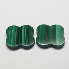 15*15 mm 50 Piece/a lot Four-leaf clover  Green malachite natural seeds