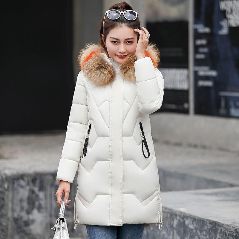 Nouvelle mode hiver femmes longs manteaux tout-assorti décontracté épaissir Parkas chaud col en fourrure à capuche coton hiver vestes manteaux D255