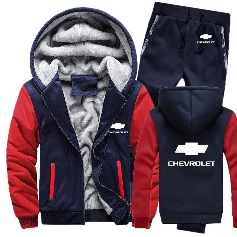 Winter Hoodies Men Chevrolet Car Logo Mens Hoodies Suit Thicken Warm Fleece Cotton Zipper Tracksuit Mens Jacket+Pants 2Pcs Sets