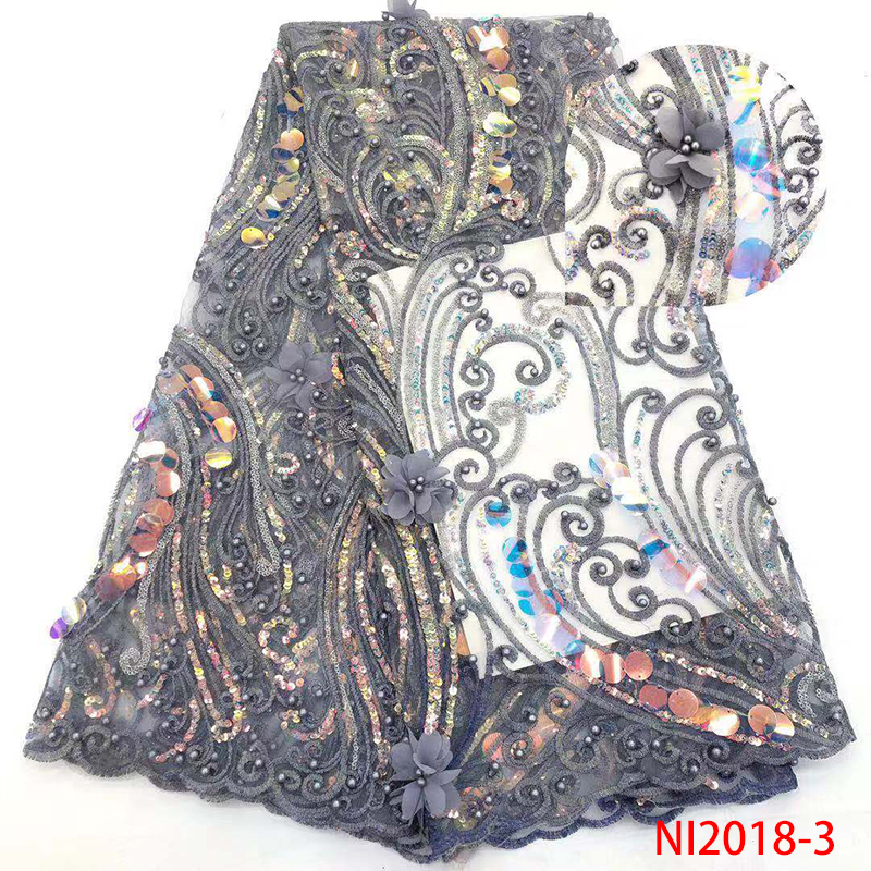French 3D Tulle Lace Fabric,Beaded African Fabric Lace,Nigerian Embroidered Lace Fabrics Sequins For Women Dresses KSNI2018-3