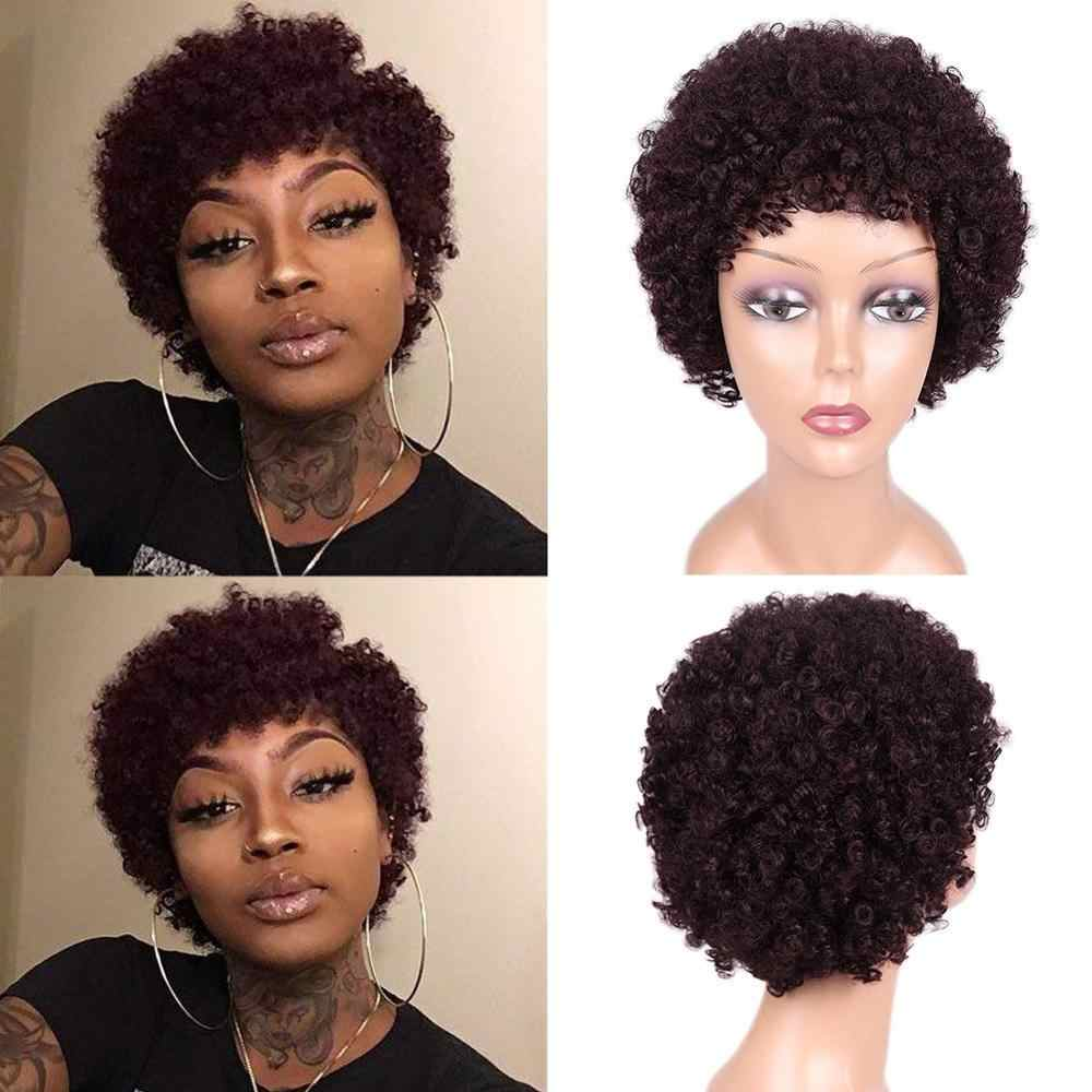 Wignee Afro Kinky Curly Short Human Hair Wigs With Free Bangs For Black Women Natural Brazilian Hair Short Pixie Cut Human Wigs