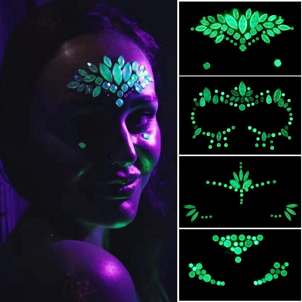 Nightclub Face Jewels Glow Dark Body Glow Luminous Stickers Tattoo Decor Dance Music Festival Party Body Gems Rhinestone Sticker