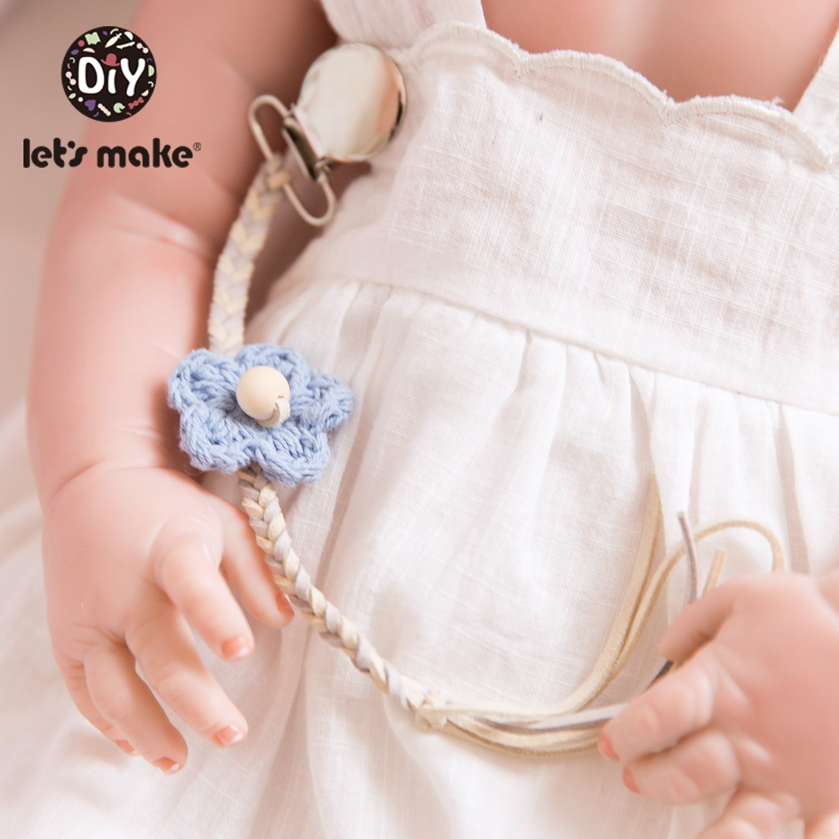 Let'S Make 1Pc Baby Pacifier Clip Weaving Dummy Holder Handmade Chain Crochet Flower Chain Non-Toxic Infat Soother Nippler Strap