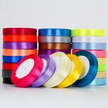 Ruban en satin pour décoration cadeau, ruban artisanal, fournitures d'emballage, ruban bricolage main, pour gâteau, en tissu, 6mm-50mm, 25 mètres/rouleau