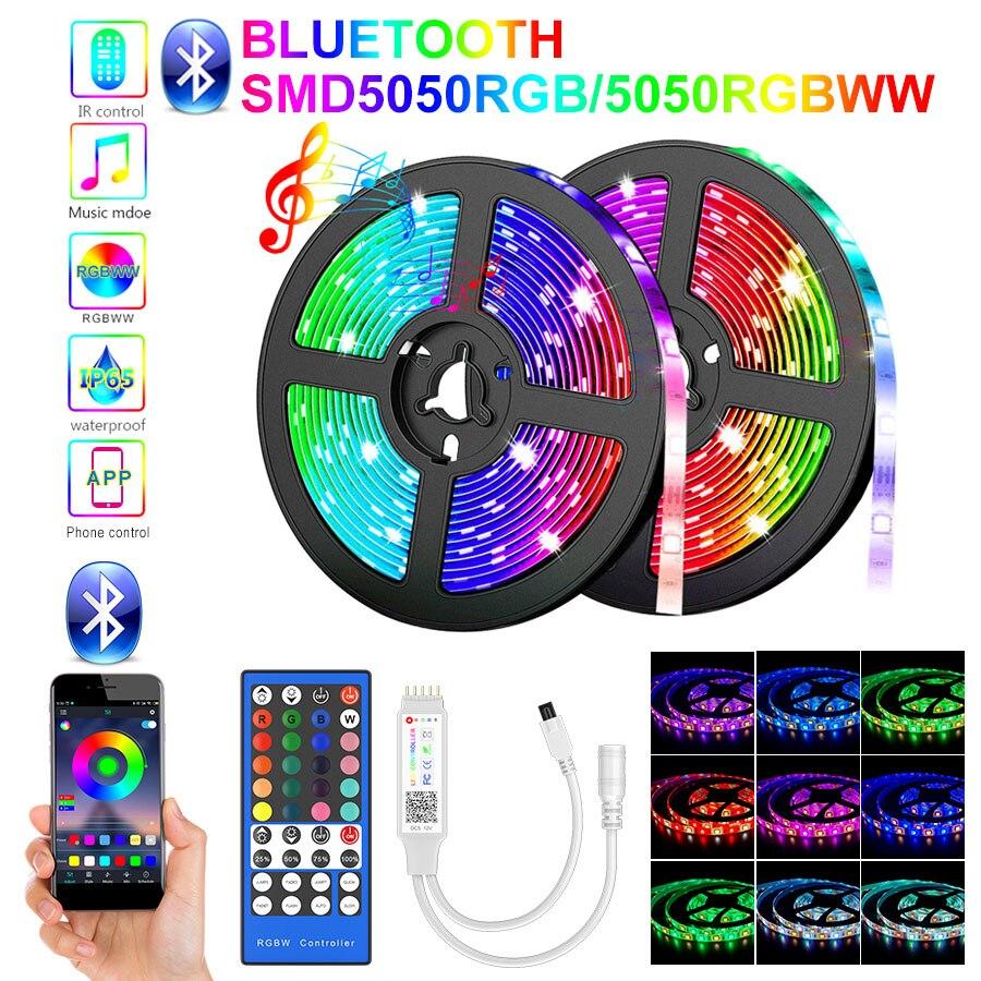5m-30m rgbww led strip light impermeável 5050 bluetooth led strip telefone app lâmpada flexível remoto fita dc adaptador led luz