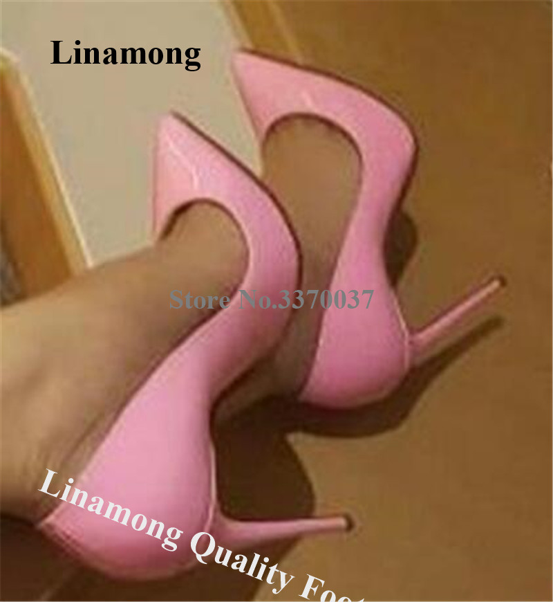 Linamong Classical Style Patent Leather 12cm Stiletto Heel Pumps Cute Pointed Toe Red Red Super High Heels Formal Dress Shoes