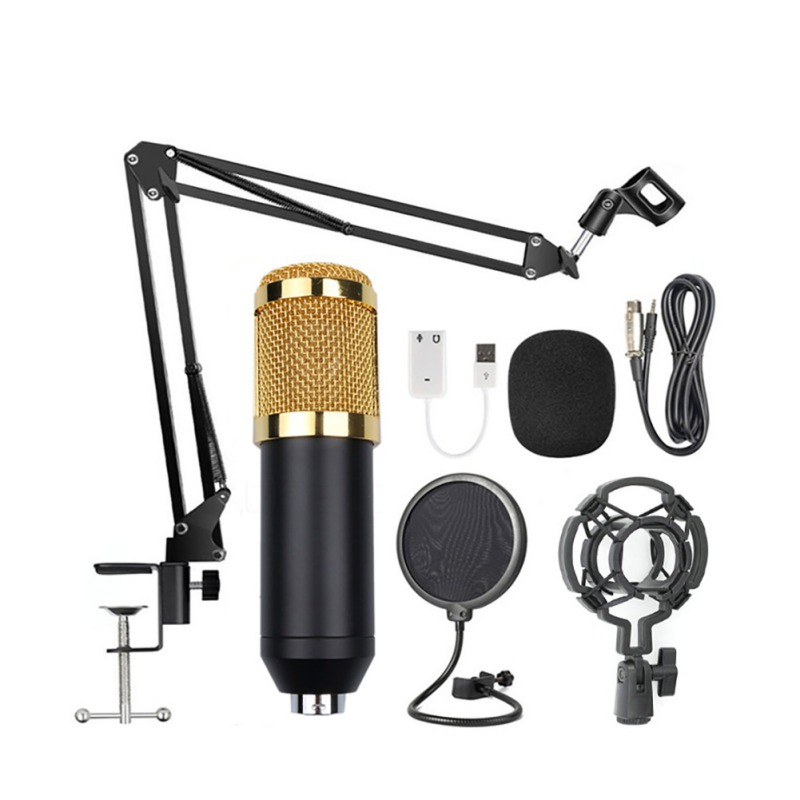 Condenser Audio 3.5mm Wired Studio Microphone Vocal Recording KTV Karaoke Microphone Set Mic W/Stand For Computer