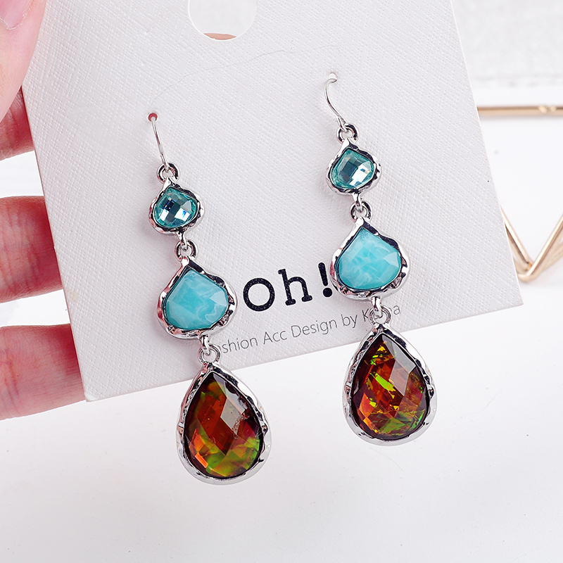 Blue Brown Glass Water Drop Pending Earrings 2019 Fashion Silver Hanging Earrings Online Shopping India Jewelry