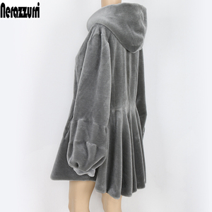 Image 3 - Nerazzurri real fur coat women with hood long sleeve lantern sleeve genuine fur coats gray red plus size sheep shearling jacket