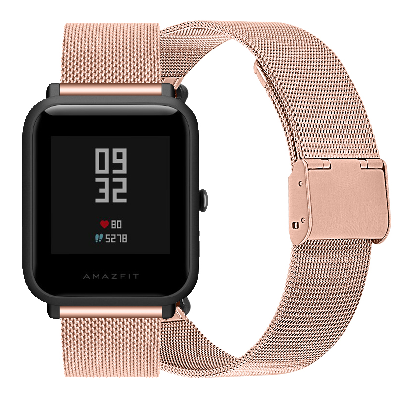Snap Button Milanese Metal Watchband For Xiaomi Huami Amazfit Bip Stainless Steel Slide Fastener Watch Band Wristband Strap