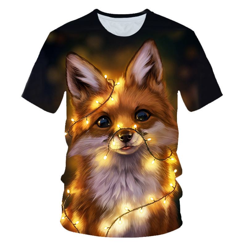 3D Fox Print T Shirts Men Women Summer Harajuku Clothing Hip Hop Fashion Tees Tops Cute Animal Graphic T-Shirt 2XS-4XL