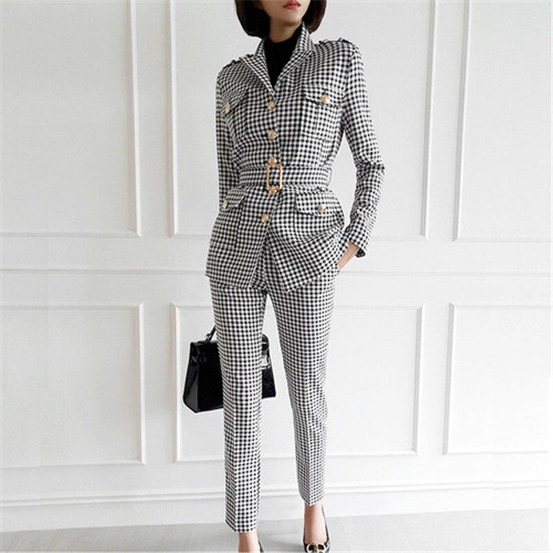 Fashion Office Ladies Plaid Suit Slim Fit Autumn Winter New 2 pcs Blazer Suits Vintage Business Work Outfits Ensemble Femme 2