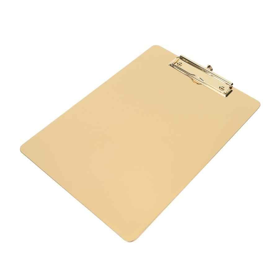 Multifungsi Kertas Folder Holder Golden Clipboard Huruf Papan Kertas Pemegang Stainless Steel Folder untuk Kantor Rumah Alat