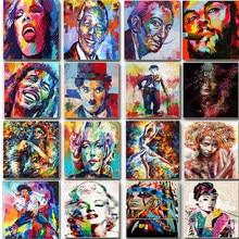 Figura definir pintura por número diy kits de artesanato tintas acrílicas para adultos quadro de lona pintura a óleo desenho coloração por número decoração