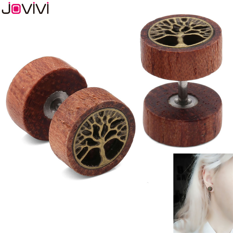 JOVIVI 16Ga Sono Wood Tree Of Life <font><b>Fake</b></font> Cheater <font><b>Fake</b></font> <font><b>Ear</b></font> Plug <font><b>Ear</b></font> Expander Flesh <font><b>Tunnel</b></font> Barbell Tragus Earring Piercing Jewelry image