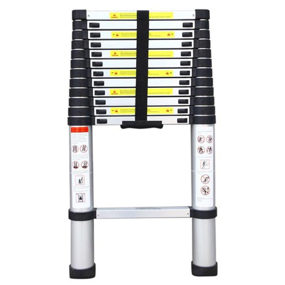 3.8m Single Side Extension 12 Stap Aluminium Rekbaar Ladder Black & Silver tuingereedschap Thuis Gereedschap - 3