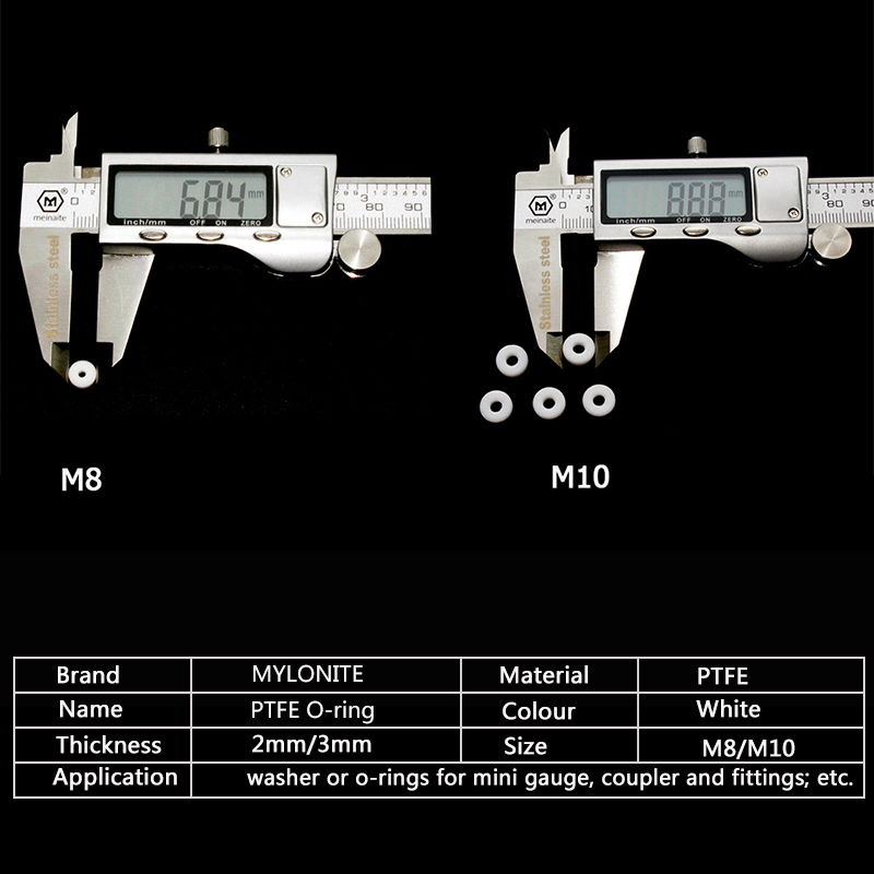 PCP Pneumatics M10 M8 PTFE O-Ring Gasket Air Seal Sealing for High Pressure Mini Gauge Coupler Socket