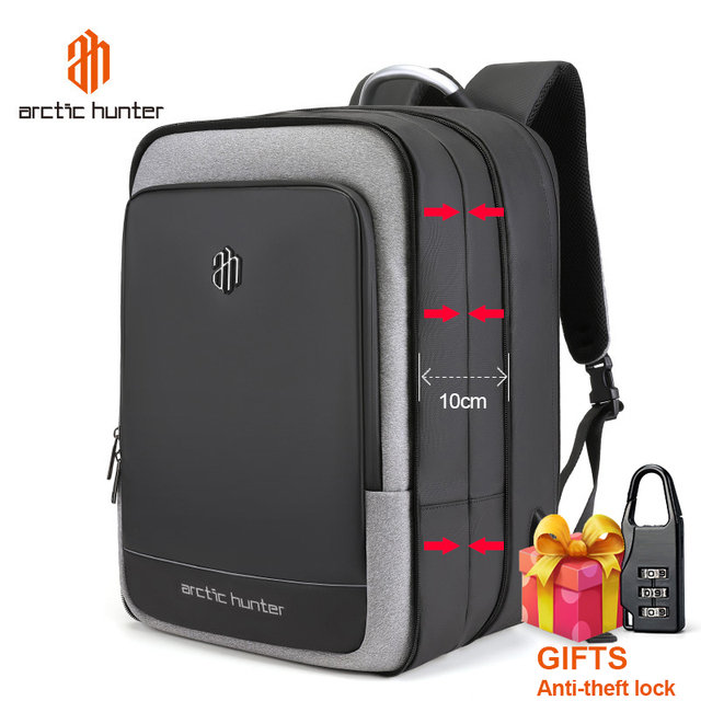 ARCTIC HUNTER 40L Large Capacity Mens Expandable Backpacks USB Charging Male 17 inch Laptop Bags Waterproof Business Travel Bag