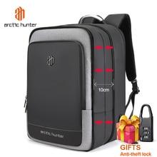 ARCTIC HUNTER 40L 대용량 Mens 확장 가능한 배낭 USB 충전 남성 17 인치 노트북 가방 방수 비즈니스 여행 가방