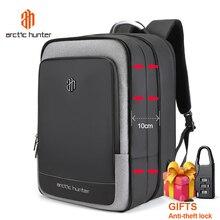 ARCTIC HUNTER 40L büyük kapasiteli erkek genişletilebilir sırt çantaları USB şarj erkek 17 inç Laptop çantaları su geçirmez iş seyahat çantası