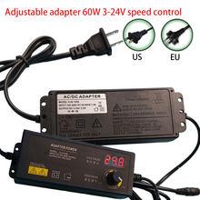 Adaptateur réglable avec écran d'affichage, prise US/EU universelle, 60W AC 100-240V à DC 3-24V