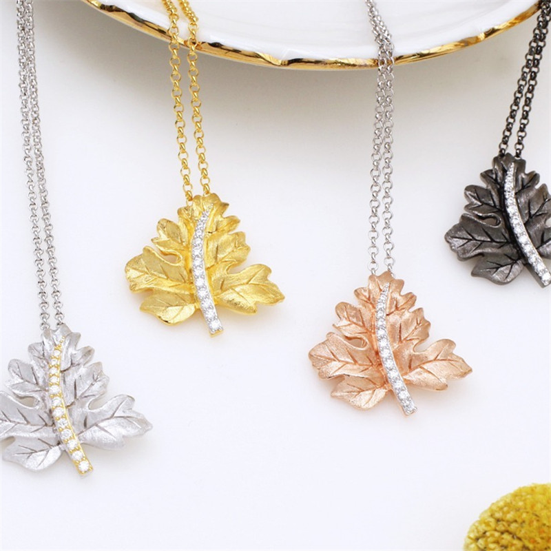 CMajor 925 Sterling Silver Two-tone Maple Leaf Shape Necklace Sterling Silver Fine Jewelry Valentine's Day Gift For Women