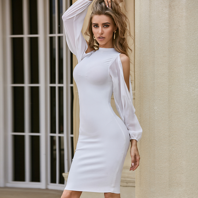 ADYCE 2021 New Autumn Women White Long Sleeve Bandage Dress Sexy Bodycon Mini Celebrity Runway Club Party Bandage Dress Vestidos 2