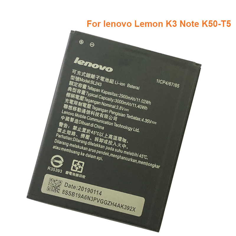 NEW BL243 Mobile Phone Battery for lenovo K3 Note K50-T5 A7000 A5500 A5600 A7600 Battery image