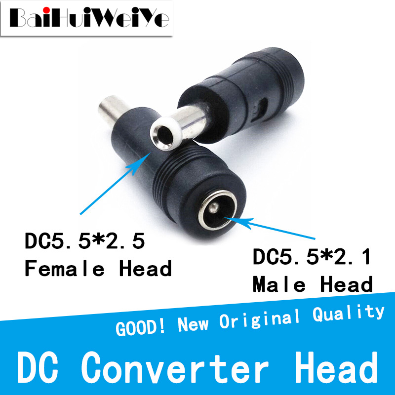 5pcs/lot DC Converter Head DC5.5 * 2.1 Female To 5.5 * 2.5 Male DC Power Adapter Big Turn Small