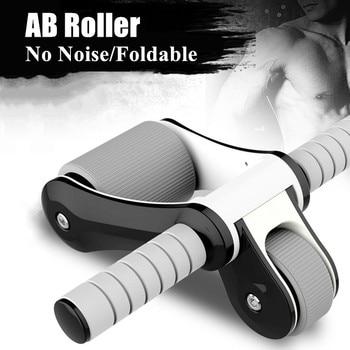 abdominales ejercitador rueda ejercicio abdominal rueda para abdominals Rodillo de AB con estera plegable sin ruido doble rueda para el gimnasio en casa entrenador de músculos abdominales equipo de Fitness estimulador