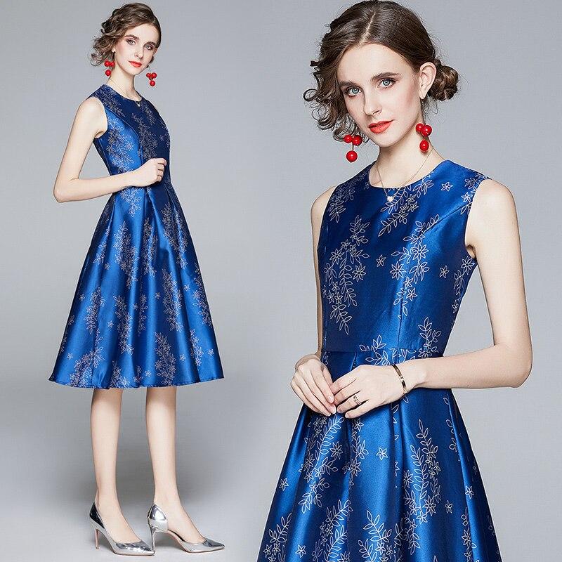 Simgent sem mangas vestido feminino outono a linha casual impressão elegante vestido de festa azul vestidos dames jurken robe femme sg07306