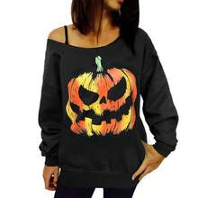 halloween womens hoodies pullover printed pumpkin gothic sweatshirts clothes oversized hoodie vintage cotton print pullovers
