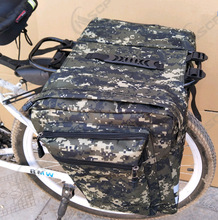 New 25L Camouflage Bicycle Big Double Pack Bike Carrier Bag Rear Rack Trunk Cycling Luggage Seat Pannier Storage Two Bag new multifunctional roswheel mountain bike saddle basket bicycle rear rack bag becicle bicycle pack trunk pannier bycicle bag