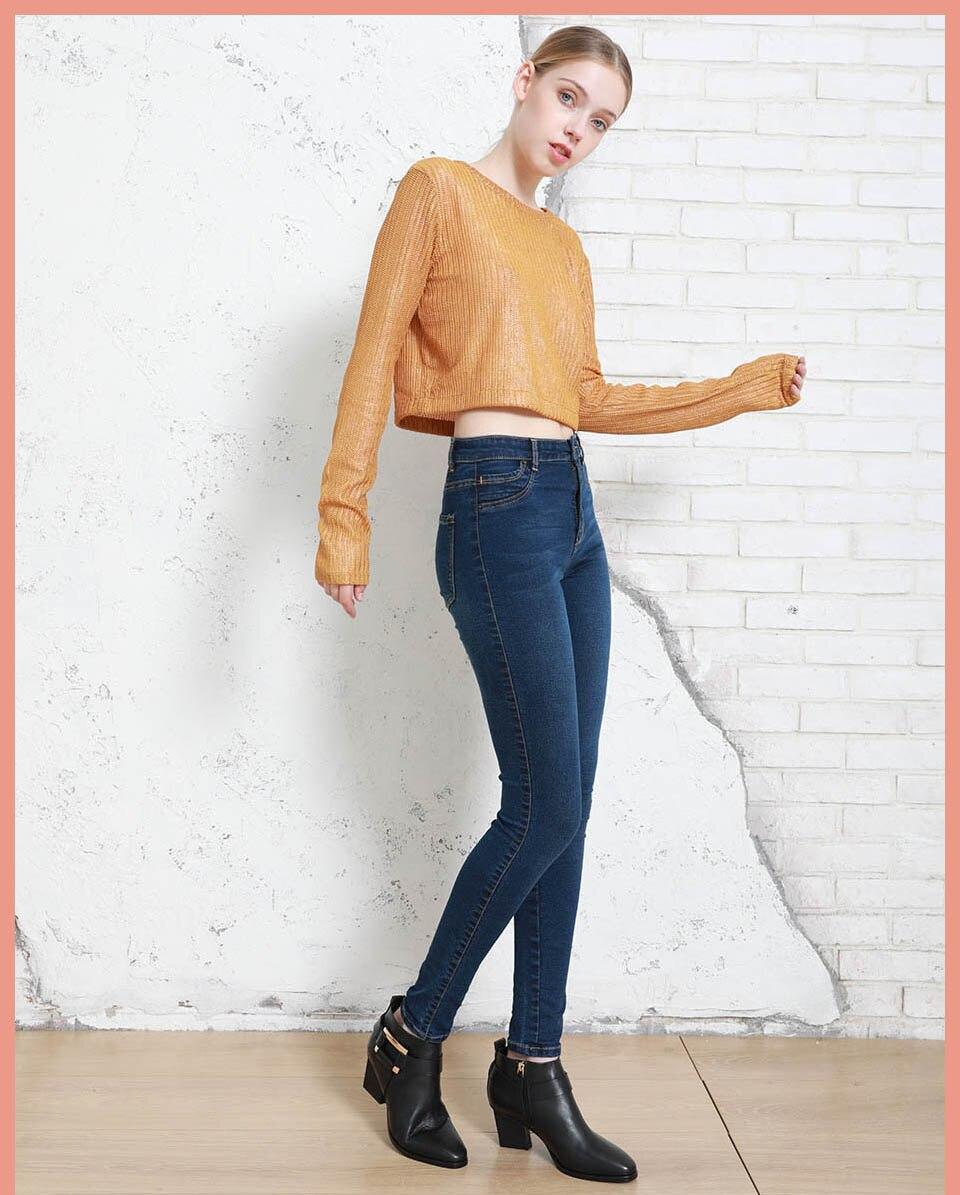 Autumn Winter Women Denim Skinny Pants Super Stretch Fake Front Pocket Waist Blue Grey Black White Slim Elastic Lady Jeans 6