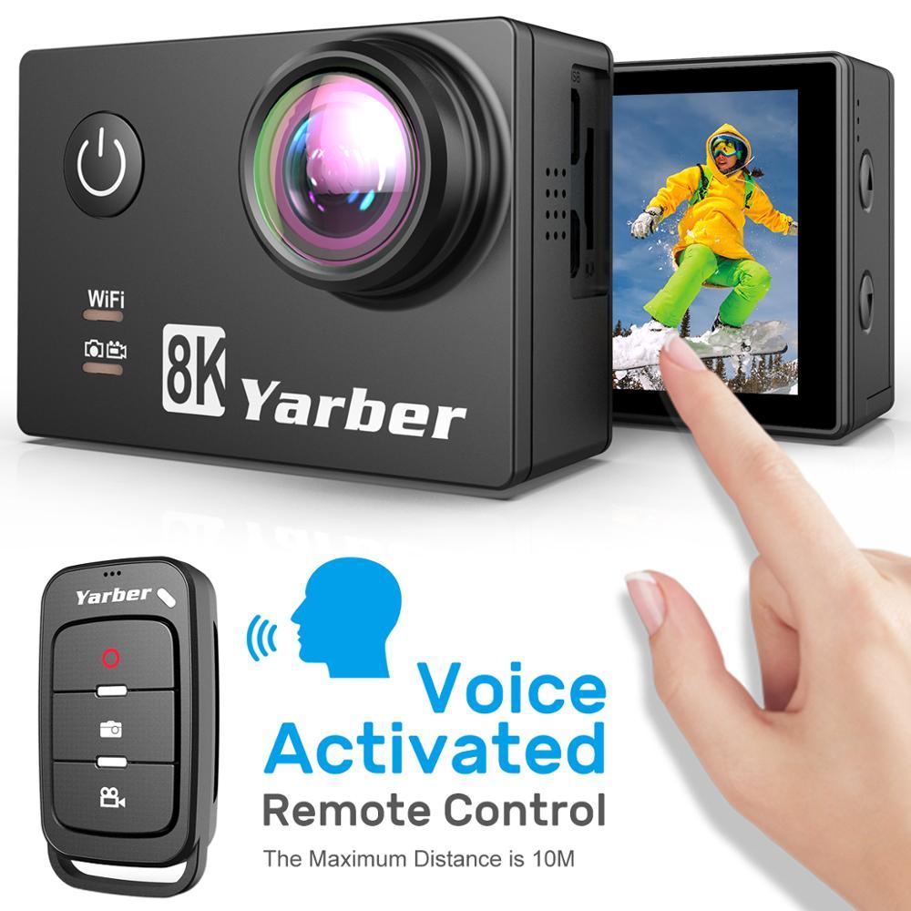 Yarber 8K Спортивная экшн- видеокамера 40 м водонепроницаемая Wi-Fi велосипедная шлем Camara Deportiva 20MP Full HD с пультом дистанционного управления подводн...