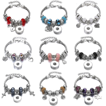 New Snap Bracelets for Women Tree of Life Metal Snap Button Bracelet Bangle Fit 18MM Snap Jewelry Bracelets Beads Making Jewelry 5