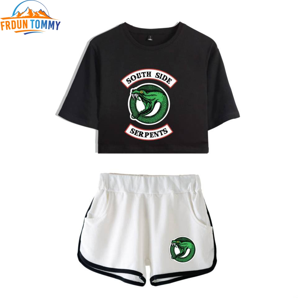Riverdale Two Piece Set Summer Sexy 2019 Riverdale 2D Printed T Shirt  New Suit Shorts Crop Women Fashion South Side Serpents