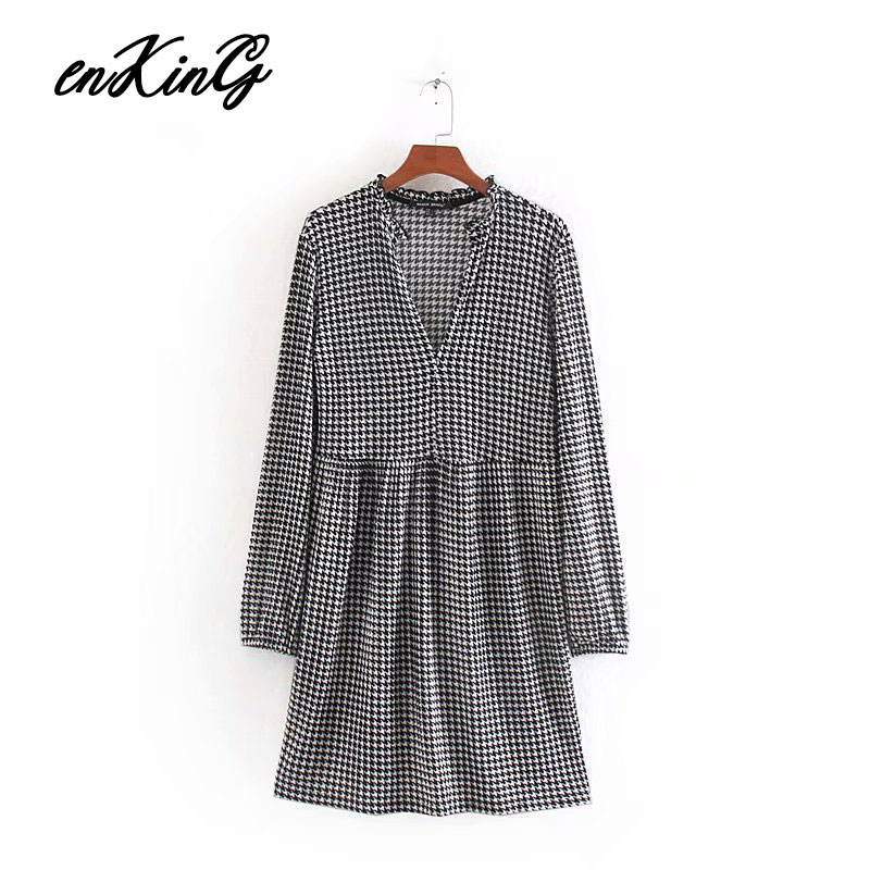 2019 women Houndstooth tweed za dress long sleeve V neck plaid female casual office wear knee length dresses vestidos mujer