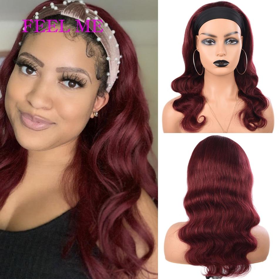 Feelme 99j borgonha bandana perucas de cabelo humano da onda do corpo do vinho vermelho brasileiro para as mulheres negras peruca completa da máquina # 1b cabelo remy