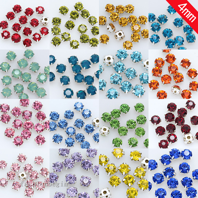 100p 4mm Color Sew On Crystal Glass Rhinestone Diamante Jewels Silver Cup Claw Montees 4-holes Sewing Stone Button Craft Garment
